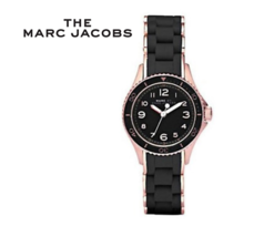 Marc Jacobs Watch MBM2564 Urethane Band Black Rose Gold NWT - $217.04