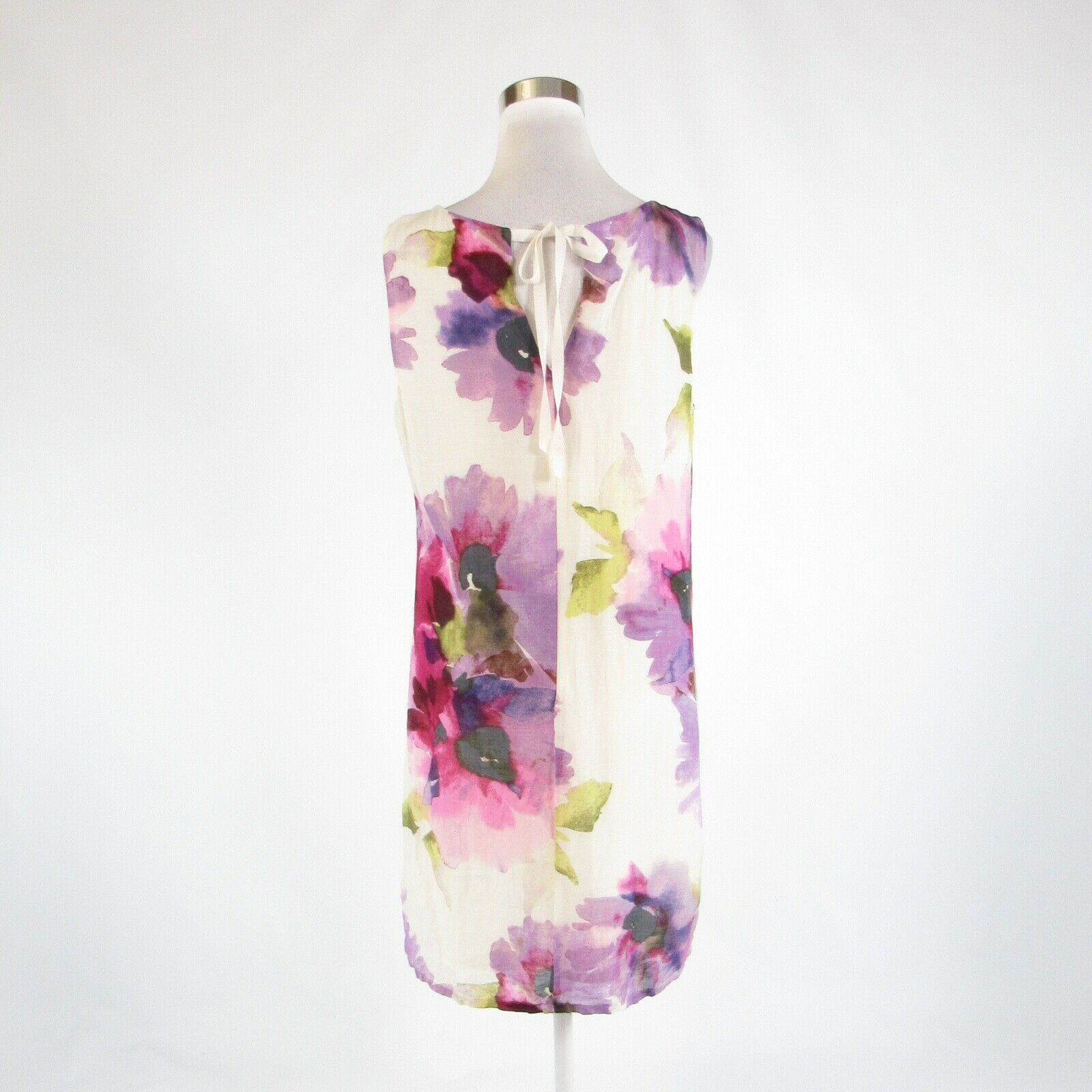 White purple floral print ANN TAYLOR LOFT sleeveless shift dress 10 image 7