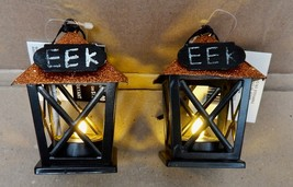 "Halloween LED Lanterns 2 Each Ashland Boo Or EEK Boulevard 2 1/2"" x 3 1/... - $8.49"