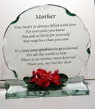 Cellini Gifts Mother Poem Cut Glass Plaque Special Occasion Keepsake Gif... - $32.07