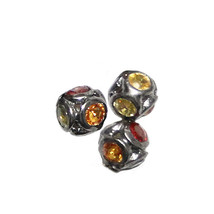 925 Sterling Silver Sapphire Gemstone Spacer Bead Ball Finding Jewelry 5... - $153.96