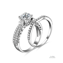 1ct Round Side Stone Bridge Accent 925 Silver Cubic Zirconia Engagement Ring Set - $52.56