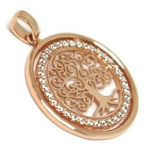 Pendant Rose Gold 750 18K, Tree of Life, Frame Zircon, Perforated image 5
