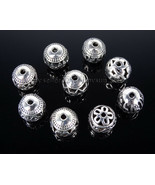 Tibetan Silver Carved Patterned Hollow Connector Round Spacer Beads 10mm... - $1.94+