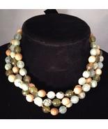 New Cookie Lee 3 Strand Glass / Wood Bead Choker - Shades Green / Brown - $12.69