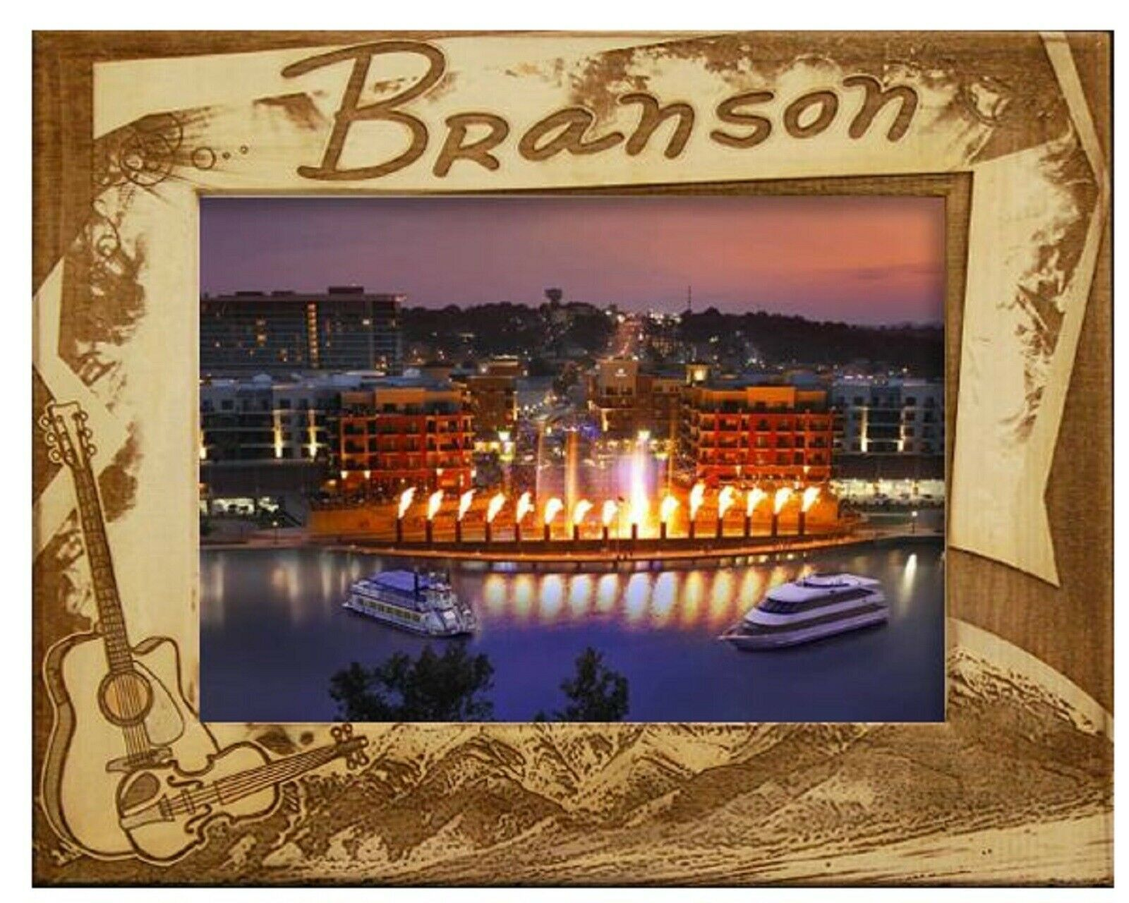 Branson Missouri with Guitar Laser Engraved Wood Picture Frame (5 x 7)