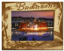 Branson Missouri with Guitar Laser Engraved Wood Picture Frame (5 x 7) - £23.60 GBP
