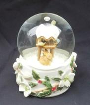 Marjolein Bastin Hallmark Snow Globe Rabbit Bird Feeder Christmas Winter - $19.34