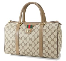 Authentic Vintage GUCCI Brown GG Canvas and Leather Boston Hand Bag #32762 - $349.00