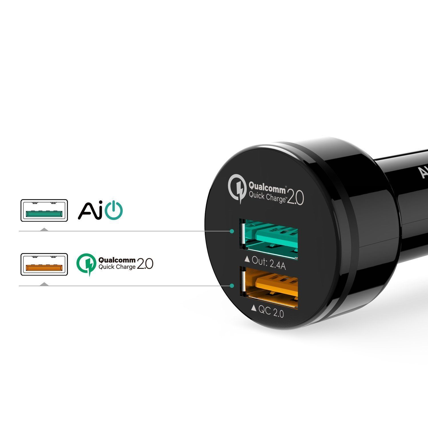 Aukey Car Charger with Quick Charge 2.0 Port for LG G4, Samsung Galaxy S7/S6/Edg
