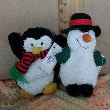 "Rare two Russ Berrie 4"" Snowman & 3"" penguin plush toys (LOT) - $14.99"