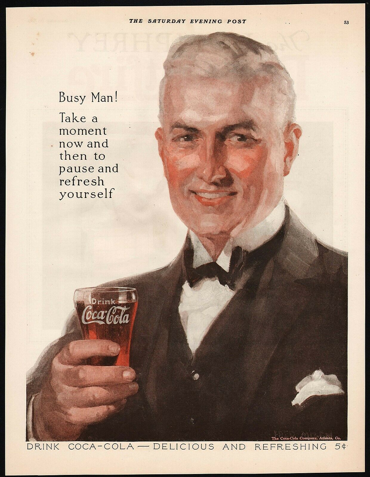 Primary image for Vintage magazine ad COCA COLA Busy Man from 1924 man pictured Fred Mizen artwork