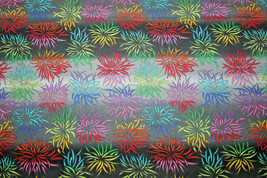 KIKU - SPIDERY MULTICOLOR FLOWERS ON SHADES OF GRAY STRIPES - $7.91