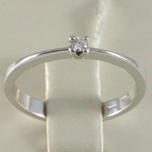 BAGUE EN OR BLANC 750 18K, SOLITAIRE AVEC DIAMANT, CT 0.05, MADE IN ITALY image 2