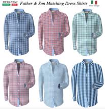 Berlioni Italy Men's & Boys Premium Yarn Dyed Luxe Cotton Dress Shirt Modern Fit image 1