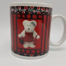 Boyds Bear Born to Shop Mug 16 oz Razz Bearies 2003 Bearware Pottery - $7.87