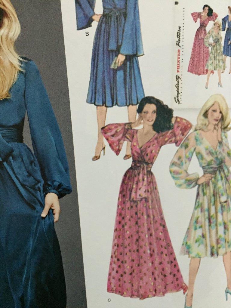 Simplicity Ladies sewing pattern 8013 1970 S style vintage Faux Wrap dresses ...