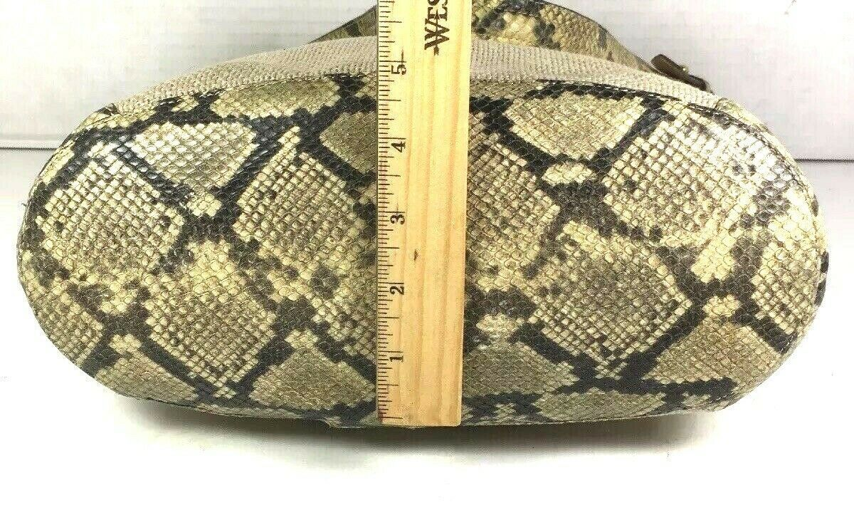 Brahmin Beige Fabric and Reptile Print Trim Shoulder Bag- Well Worn image 7