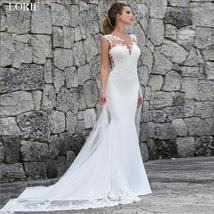 Elegant illusion Lace Appliques Custom Made Mermaid Wedding Dress Wedding Gown image 6