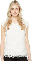 Vince Camuto Extend Shoulder Organic Lace Blouse ivory - $14.04