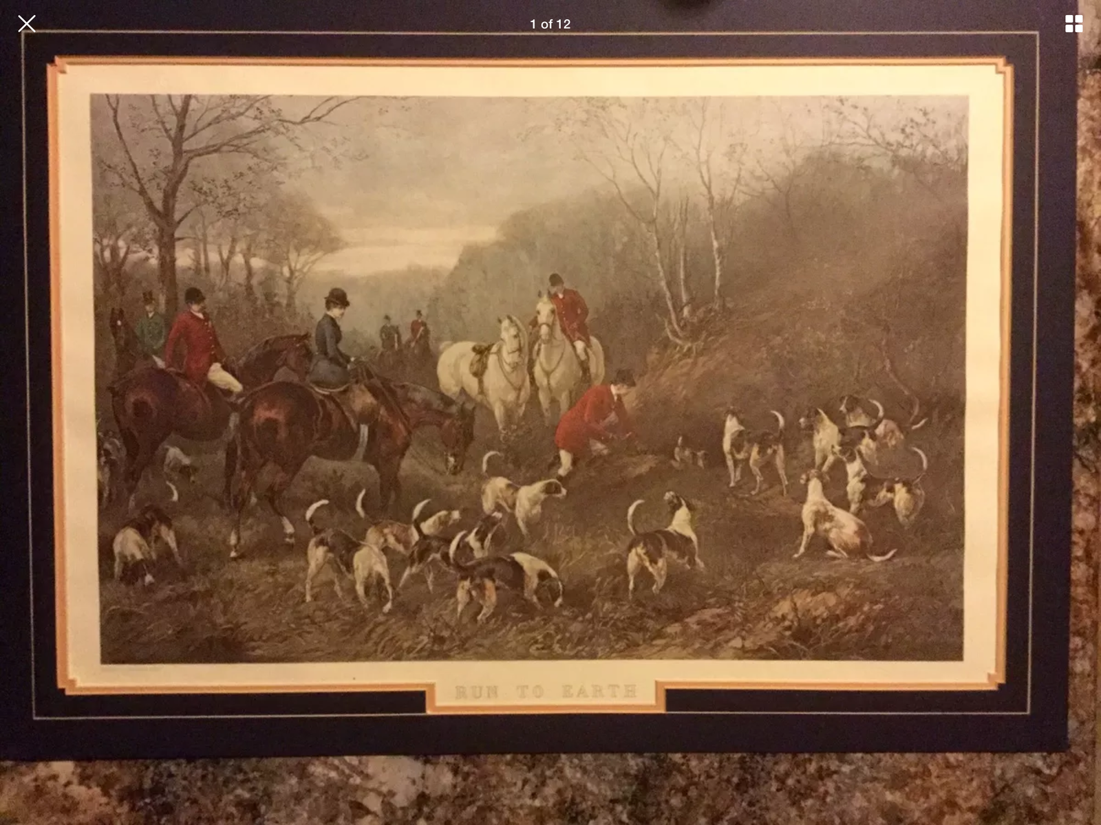 """RUN TO EARTH"" Framed print(1892) Heywood Hardy Art Dogs Horses equestrian wood."