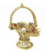 14k Yellow Gold Vintage 3D Basket Charm Pendant With Multi Color Stones - $787.75