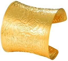Rose Flower Pattern Bangle 18K Gold Plated 61MM Wide Classic Wedding Bracelet - $48.82