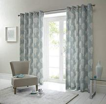 FOREST TREES DUCK EGG BLUE WHITE 229X229CM RING TOP LINED CURTAIN DRAPES... - $76.22