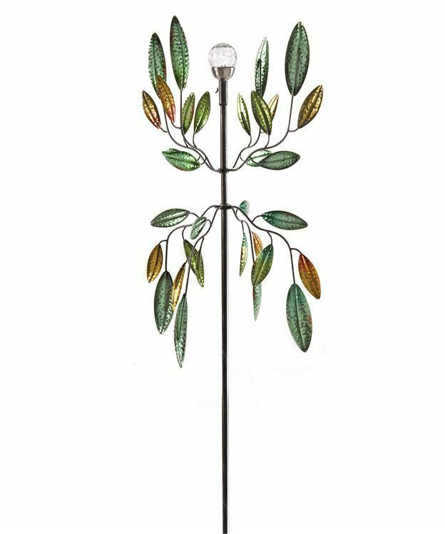 """72"""" Solar Metal Wind Spinner Featuring Green and Golden Leaves"""