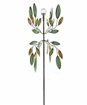 "72"" Solar Metal Wind Spinner Featuring Green and Golden Leaves  - $168.29"