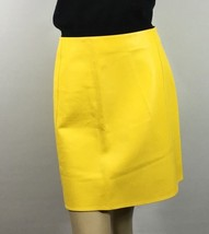 Ralph Lauren Purple Label Lambs Leather Skirt Size 4 Bright Yellow New - $645.38