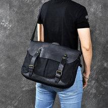 On Sale, Horse Canvas With Leather Messenger Bag, Men Shoulder Bag Satchel Bag image 2