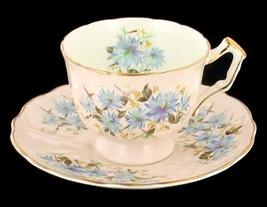 VINTAGE AYNSLEY BONE CHINA BLUE BACHELOR BUTTONS CUP SAUCER DESERT PLATE ENGLAND image 2