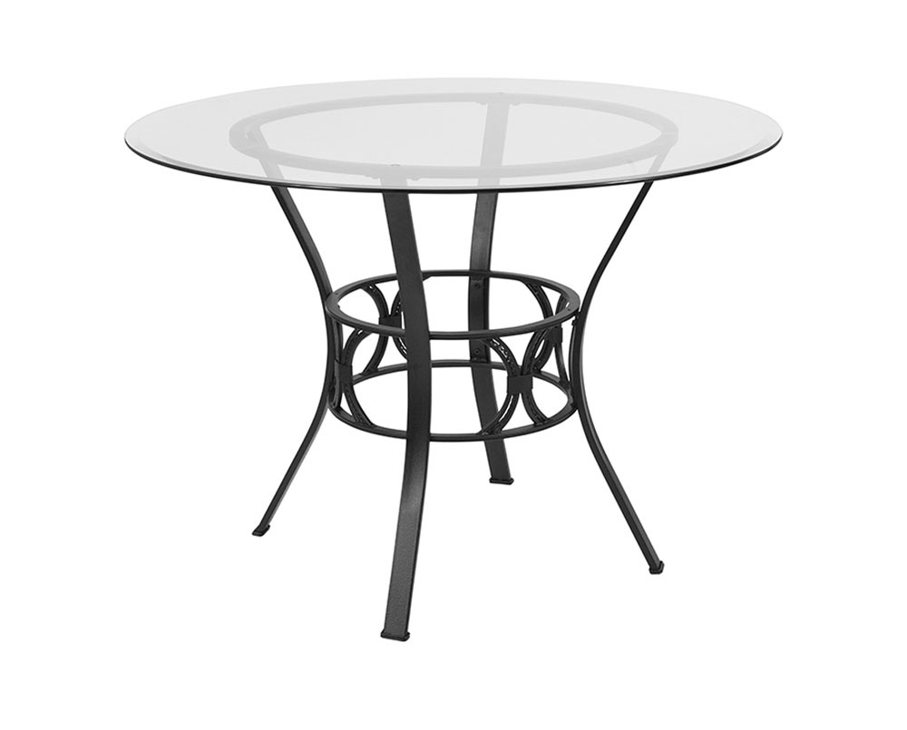 Offex Contemporary 42'' Round Glass Dining Table with Black Metal Frame - Tables
