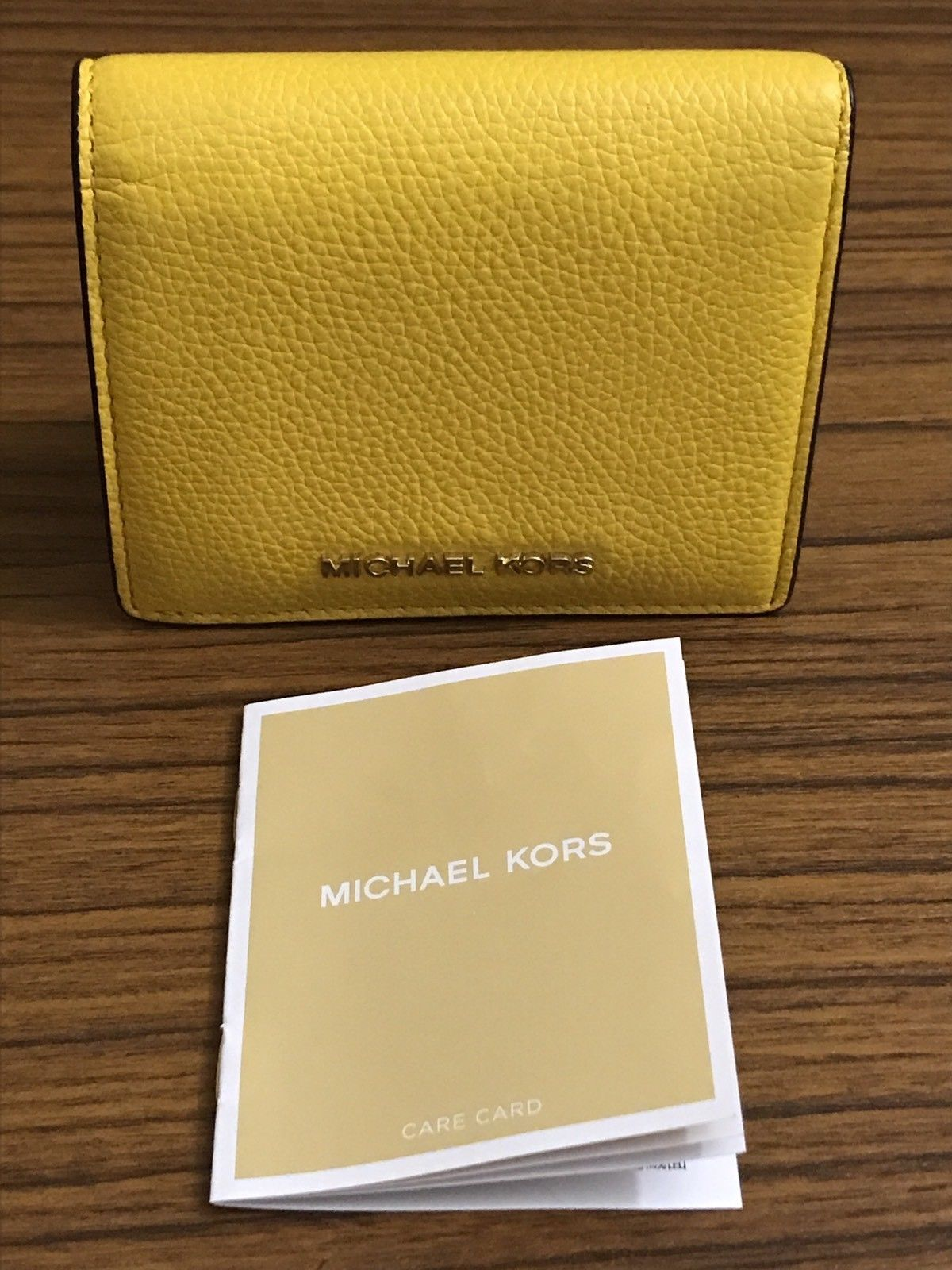 98c855ea6253 NWT Michael Kors Jet Set Sunflower Yellow Leather Bifold Card Holder Wallet