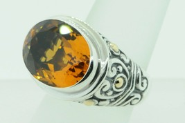 Designer BJC Sterling Silver and 18K Yellow Gold Citrine Ring (Size ) - $145.00