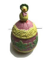 Easter Cookie Jar Yellow Duck Sitting on Top Yellow Green Adorable Flaw - $26.33
