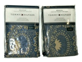 Tommy Hilfiger set of 2 Broadcove Euro Pillow Shams Blue & Cream retail ... - $93.01