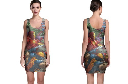 New crossover superheros bodycon dress