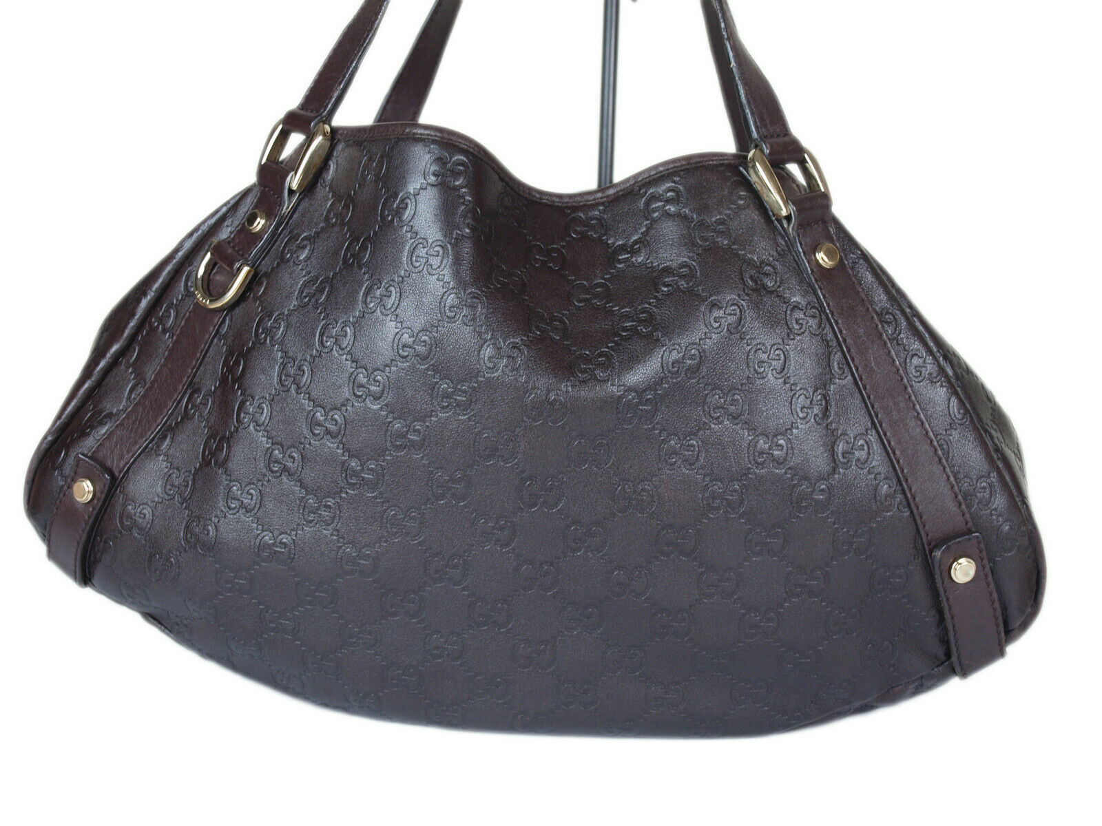 Auth GUCCI Guccissima Leather Dark Brown Shoulder Bag GT2152  image 2