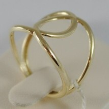SOLID 18K YELLOW GOLD BAND DOUBLE HUG WIRES RING LUMINOUS SMOOTH, MADE IN ITALY image 2