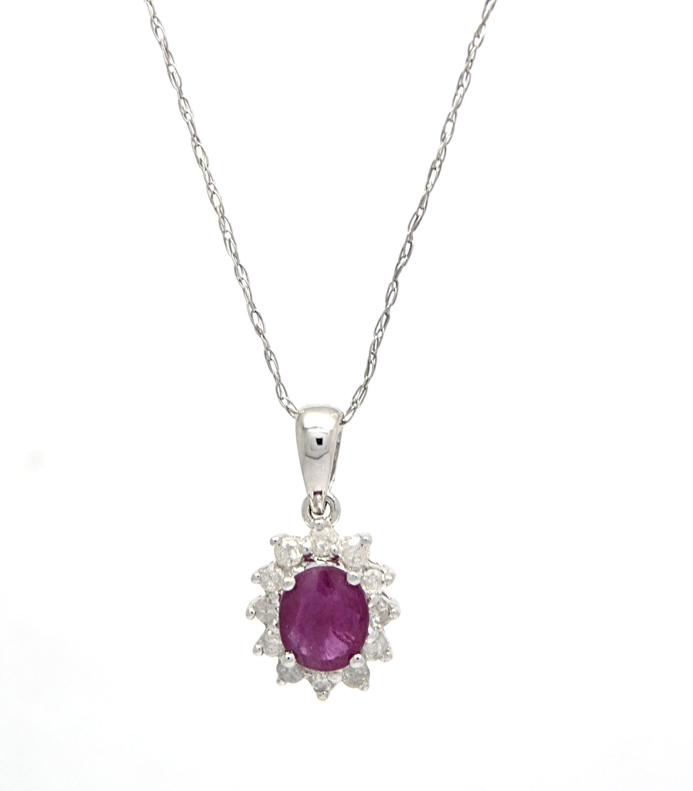 14K White Gold Genuine Ruby Diamond Pendant with 10 K Cable Chain