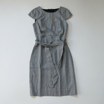 NWT J.Crew 365 Tie Front Sheath in Mini Houndstooth Linen Blend Dress 10... - $71.99
