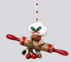 "Kurt Adler 5.25"" Gingerbread Kisses Chef Rolling Pin  Berry Christmas Or... - $10.63"