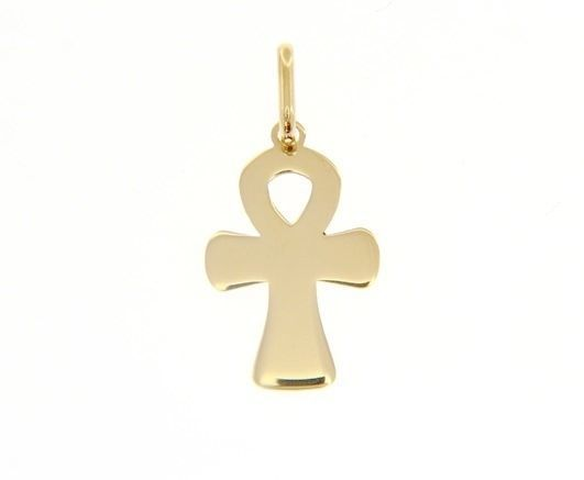 SOLID 18K YELLOW GOLD CROSS FLAT CROSS OF LIFE ANKH SHINY 1.05 INC MADE IN ITALY