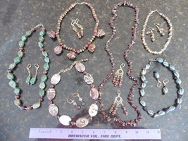 Necklace & Earrings Lot of 6 SETS wholesale Beaded Glass Stones wood Jew... - $11.29