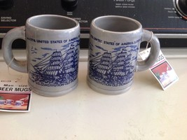 Pair of Vintage Nevco US Constituition Beer Mugs Cups Sailing Ship Man C... - $28.04