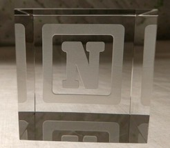 STEUBEN Glass BABY BLOCK LETTER N rare collectible crystal paperweight cube - $247.49