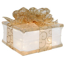 """Holiday Decoration Lighted Glass Block with 4"""" White Border - Sheer Gold... - $34.60"""