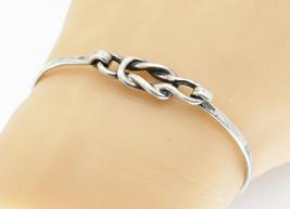 PARKER 925 Sterling Silver - Vintage Knot Detail Hooked Bangle Bracelet ... - $32.26